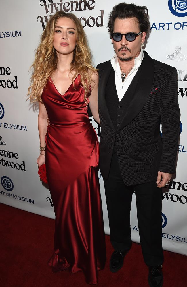 Heard and Depp show a united front on a red carpet in January. Picture: Jason Merritt/Getty