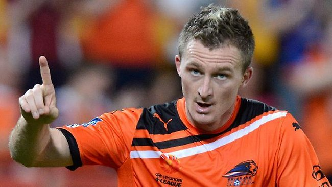 Brisbane Roar striker Besart Berisha celebrates scoring his side's opening goal.