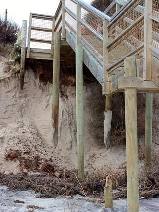 Nearby wooden steps are also damaged. Picture: Anne Wheaton, Western Adelaide Coastal Residents Association