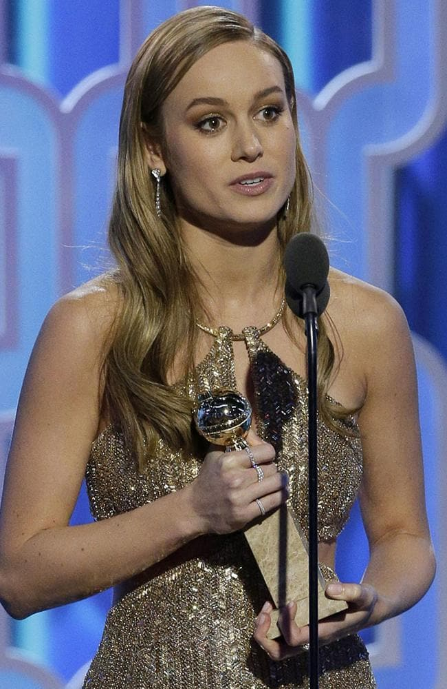 "Brie Larson accepts the award for Best Actress - Motion Picture, Drama for ""Room"" during the 73rd Annual Golden Globe Awards at The Beverly Hilton Hotel on January 10, 2016 in Beverly Hills, California. (Photo by Paul Drinkwater/NBCUniversal via Getty Images)"