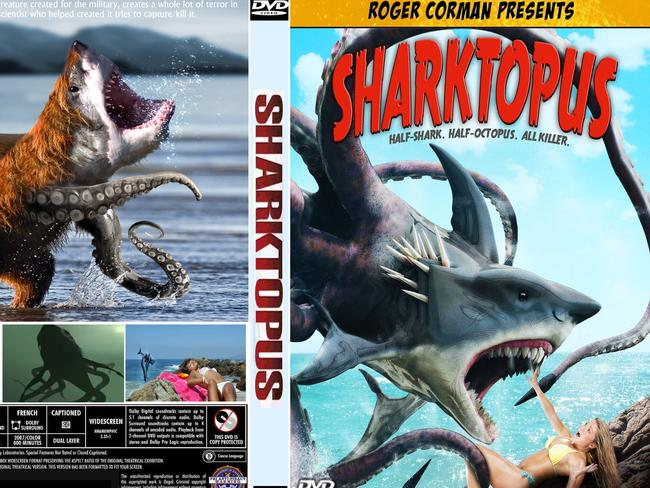 HALF SHARK, HALF OCTOPUS, ALL KILLER ... The DVD cover for Sharktopus.