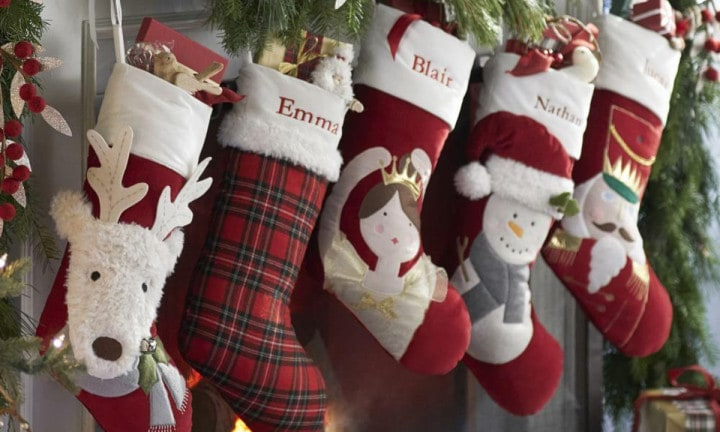 <b>PERSONALISED CHRISTMAS STOCKING by Pottery Barn Kids $39.00.</b>  <p>Start your baby's Christmas tradition on the right foot (see what I did there?) with a personalised Christmas stocking they can keep forever. The small size also ensures you won't have to spend too much on Christmas presents in future. If it don't fit in the stocking, it don't get bought. #jokingnotjoking </p>