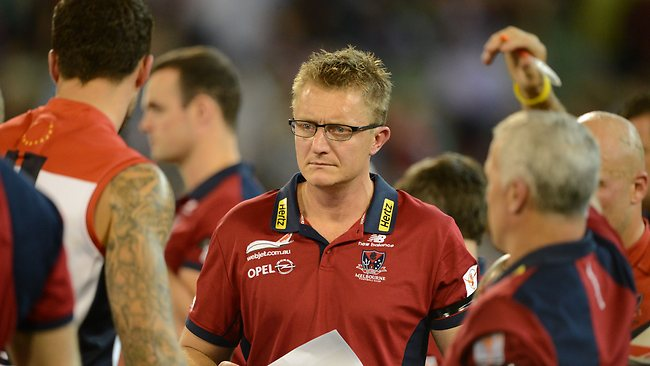 Mark Neeld looks on during three-quarter-time with no hope. Picture: Wayne Ludbey.