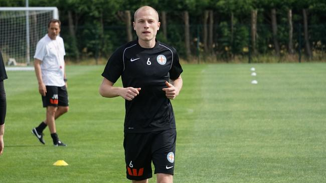 Melbourne City recruit Aaron Mooy trains at Manchester City's Carrington complex.
