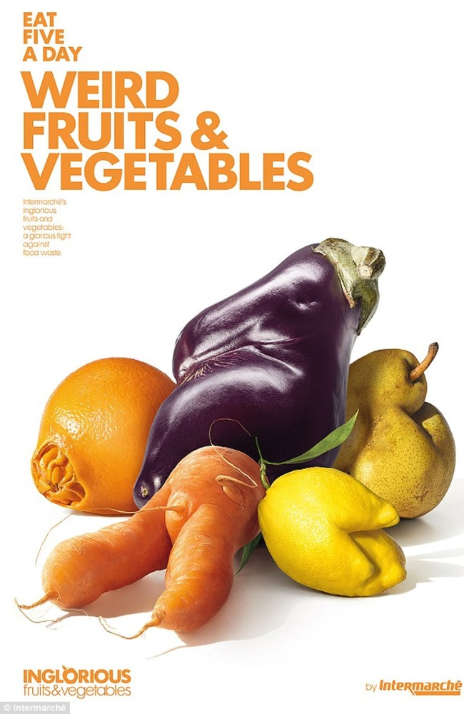 French supermarket Intermarché has launched the initiative Inglorious Fruits and Vegetables in order to combat food waste. Picture: Intermarche