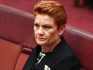 One Nation Senator Pauline Hanson in the Senate chamber at Parliament House in Canberra, Wednesday, Feb. 15, 2017. (AAP Image/Mick Tsikas) NO ARCHIVING