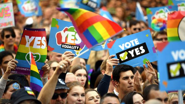 The huge pro-SSM Sydney rally in early September. The celebration for the storm. Picture: AFP