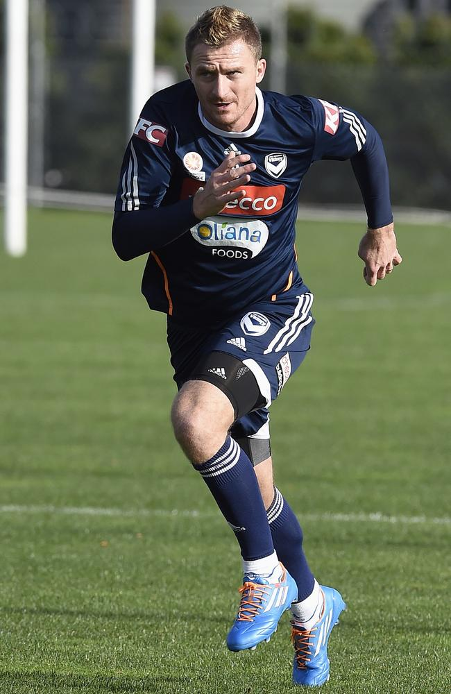 Besart Berisha trains with Melbourne Victory Soccer Club for the first time at Gosch's Paddock in Melbourne. Picture: Andy Brownbill