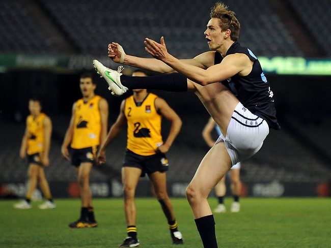 AFL Under 18 Championships at Etihad Stadium. Joe Daniher shoots for goal. Picture: Michael Dodge
