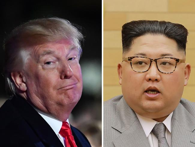 Donald Trump in Washington, DC in November 2017, and North Korean leader Kim Jong-un in on January 1, 2018 delivering a New Year's speech. Picture: AFP