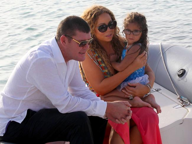 Mariah Carey and James Packer in Formentera, Balearic Islands, with her children. Picture: Splash