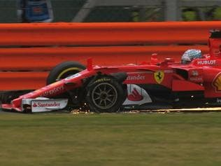 Sebastian Vettel suffered a tyre puncture at the British GP