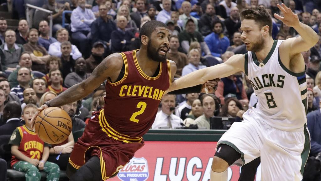 Former teammates Matthew Dellavedova and Kyrie Irving went head-to-head today, and the Aussie boy had the last laugh. Picture: AP