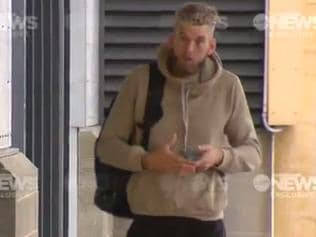 Jackson Trengove arrives at Alberton on Monday morning sporting a black left eye. Port Adelaide Football Club is investigating whether he was involved in a fight at Glenelg early in the morning on Sunday, April 23, 2017. Source: Ten Eyewitness News