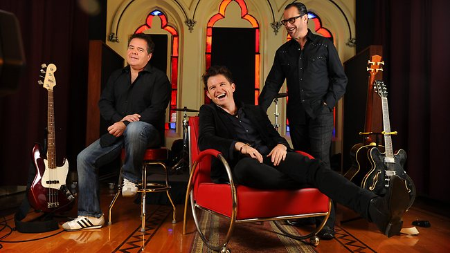 INXS members Andrew Farris, Ciaran Gribbin and Kirk Pengilly at Chapel Lane Studios in Hindmarsh. Picture: Naomi Jellicoe