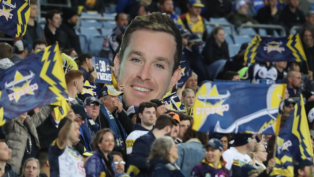 SYDNEY, AUSTRALIA — SEPTEMBER 16: Cowboys fans with a Michael Morgan poster during the NRL Semi Final match between the Parramatta Eels and the North Queensland Cowboys at ANZ Stadium on September 16, 2017 in Sydney, Australia. (Photo by Mark Evans/Getty Images)