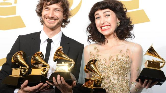 Gotye and Kimbra pose with their trophies at the Staples Center during the 55th Grammy Awards in Los Angeles last year. Picture: Robyn Beck