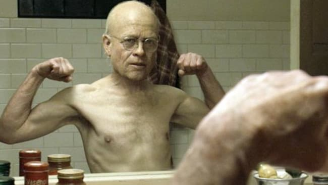Actor Brad Pitt in a scene from 2008 film 'The Curious Case of Benjamin Button', who starts the film in a nursing home... he may have fixed his financial situation when going back in time. Picture: Paramount Pictures