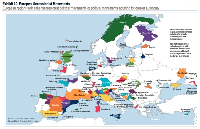 Catalan vote other european regions fighting for independence this map shows the regions in europe wanting to secede picture bank of america sciox Gallery