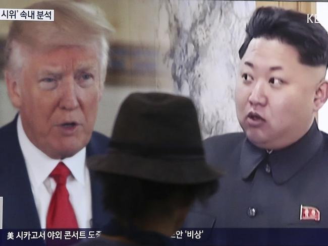 A man watches a television screen showing US President Donald Trump and North Korean leader Kim Jong-un during a news program at the Seoul Train Station in Seoul, South Korea. Picture: AP
