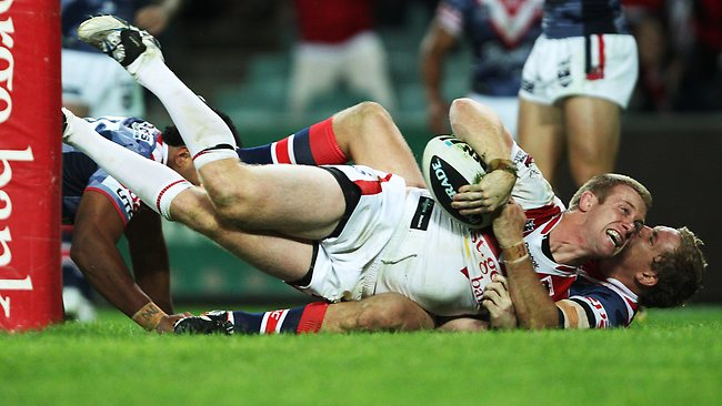 Ben Creagh scoring the winning try in the final seconds during the St George-Illawarra Dragons and Sydney Roosters NRL game at Allianz Stadium in Sydney.