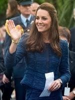 <p>A smart Rebecca Taylor skirt suit was her pick of the day in Wellington. Catherine, Duchess of Cambridge waves farewell after a walk about in Civic Square on April 16, 2014 in Wellington, New Zealand. Picture: Getty</p>