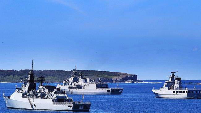 Australian and visiting foreign warships anchored in the Bay at Creswell, Jervis Bay.