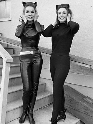 "Julie Newmar, left, with her stunt double on the set of the ""Batman"" TV series on March 3"