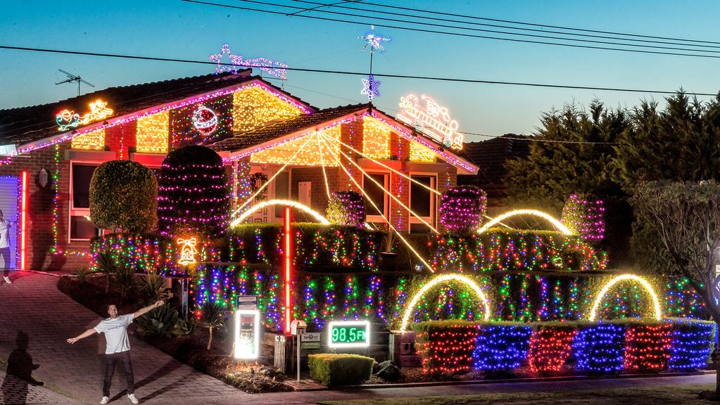 Giulian De Vincentis' incredible light display in Allumba Dve, St Helena. Picture: Mark Dadswell