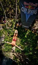 <p>Jorge Ferzuli of Mexico dives from the 27.25 metre platform during the first round prior to stop two of the Red Bull Cliff Diving World Series.</p>  <p>Picture: Romina Amato / Red Bull Cliff Diving</p>