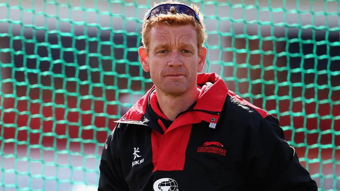 LEICESTER, ENGLAND - APRIL 12: Andrew McDonald, Coach of Leicesterhsire County Cricket Team looks on during day one of the LV County Championship match between Leicestershire and Glamorgan at Grace Road on April 12, 2015 in Leicester, England. (Photo by Matthew Lewis/Getty Images)
