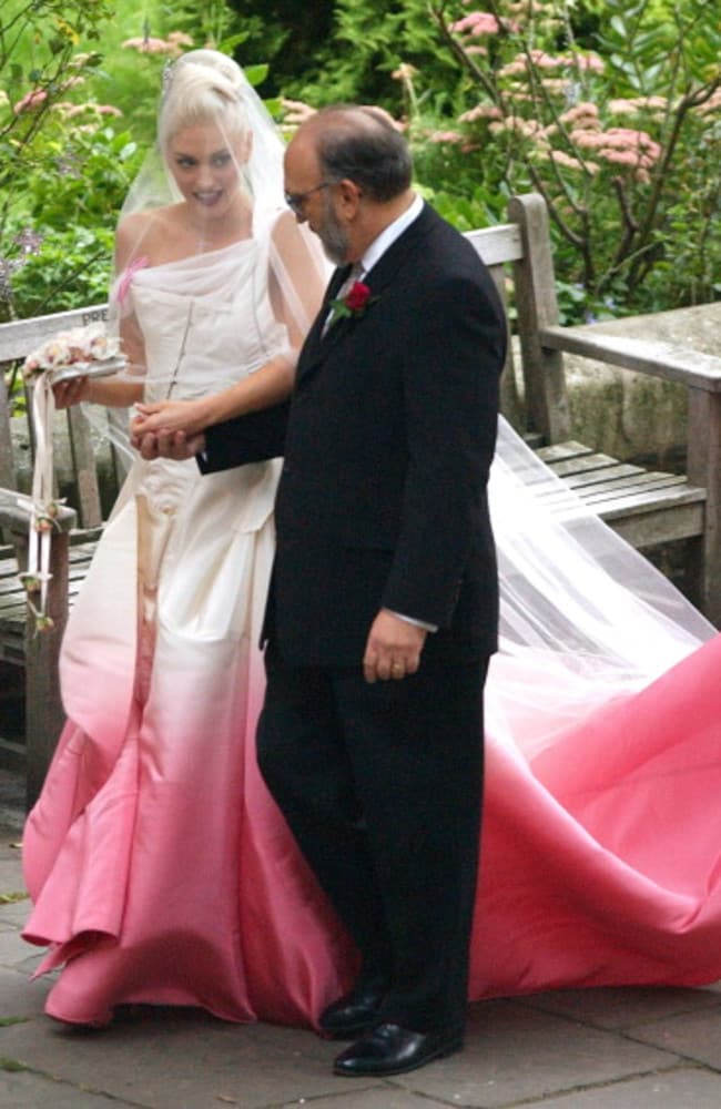 Gwen Stefani with her father Dennis Stefani on her wedding day in 2002.