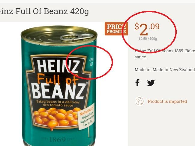 woolworths baked beans cans for story