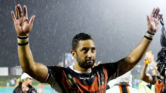 NRL round 11 game between the Wests Tigers and the North Queensland Cowboys at Leichhardt Oval, Sydney. Benji Marshall salutes the crowd after the Tigers win. Picture: Evans Mark