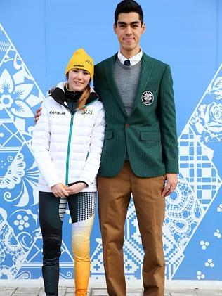 Speed skaters Deanna Lockett, wearing competition wear and Pierre Boda, wearing formal uniform / Picture: Getty Images