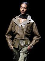 PARIS FASHION WEEK 2014: Model Jourdan Dunn walks the runway during the Balmain show. Picture: AP