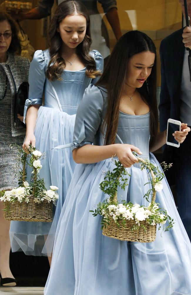Chloe and Grace Helen Murdoch seen on the way to the wedding. Picture: Neil Mockford/Alex Huckle/GC Images