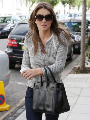 Liz Hurley seen out in central London without her engagement ring. Picture: Supplied