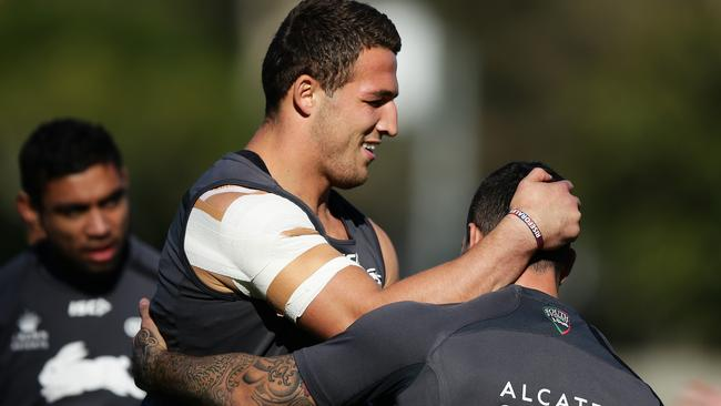 Sam Burgess trains with heavy strapping on his shoulder this week. Picture: Brett Costello