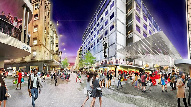 Artist's impression of Rundle Mall at Gawler Place crossover after proposed redevelopment. Picture: HASSELL