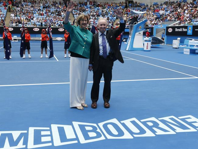 Australian tennis greats Margaret Court with Rod Laver wave during the official launch of the remodelled Margaret Court Arena at the Australian Open tennis championship in Melbourne. Picture: AP