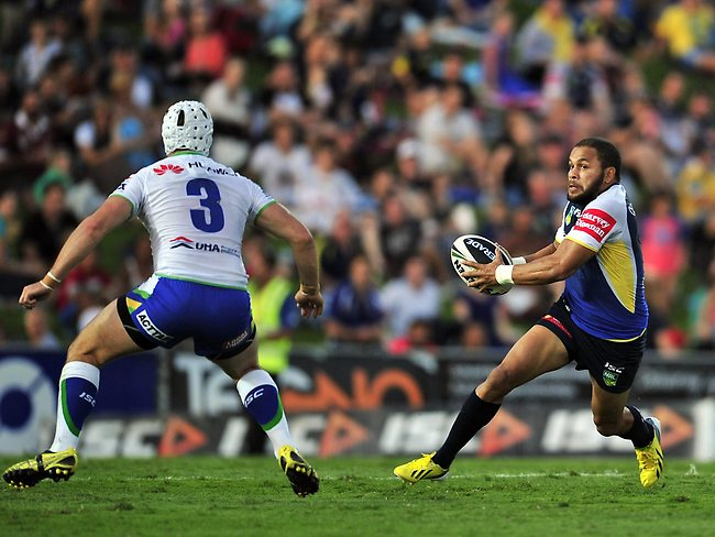 Cowboys fullback Matthew Bowen takes on the Raiders' defence. Picture: Wesley Monts