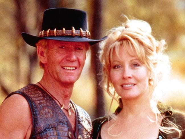 Paul Hogan and Linda Koslowski on the set of the original Crocodile Dundee in 1986.