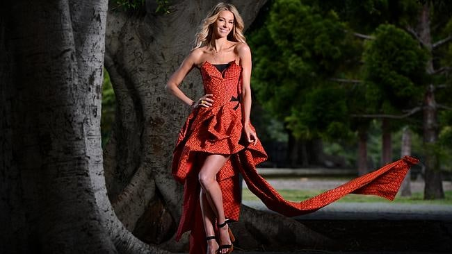 Jennifer Hawkins wearing a dress made from fabric from Africa and design by Toni Maticevski.