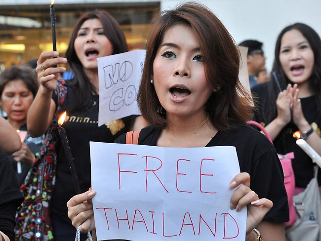 Chant for freeedom ... anti-coup protesters sing during an anti-coup rally in Bangkok, Thailand.