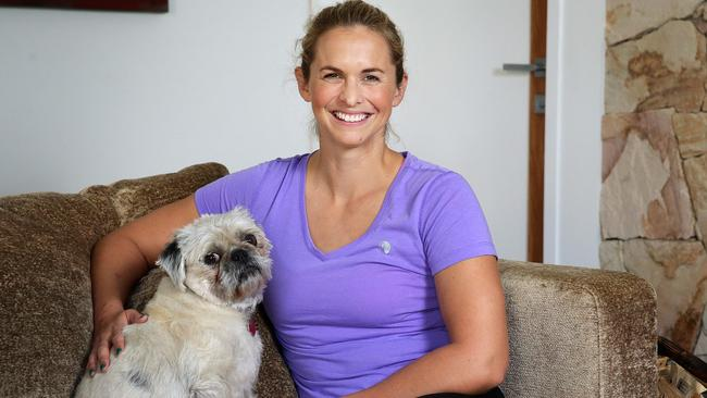 Libby Trickett relaxing at home in Seven Hills, Brisbane. Photographer: Liam Kidston.