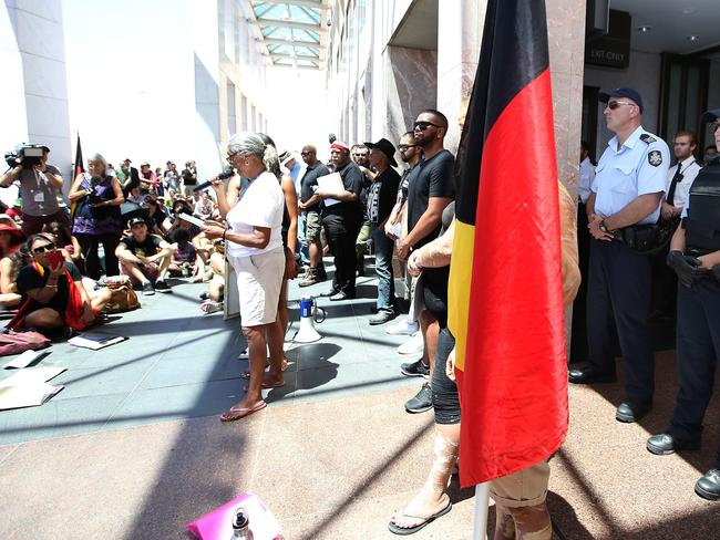 Indigenous Protest at Parliament House in Canberra. Picture: Kym Smith