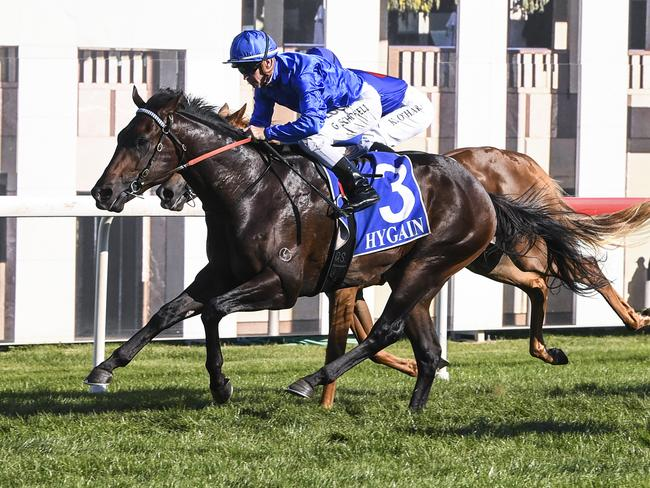 Jockey Glyn Schofield and Encryption combine to win the Canberra Black Opal Stakes. Picture: AAP
