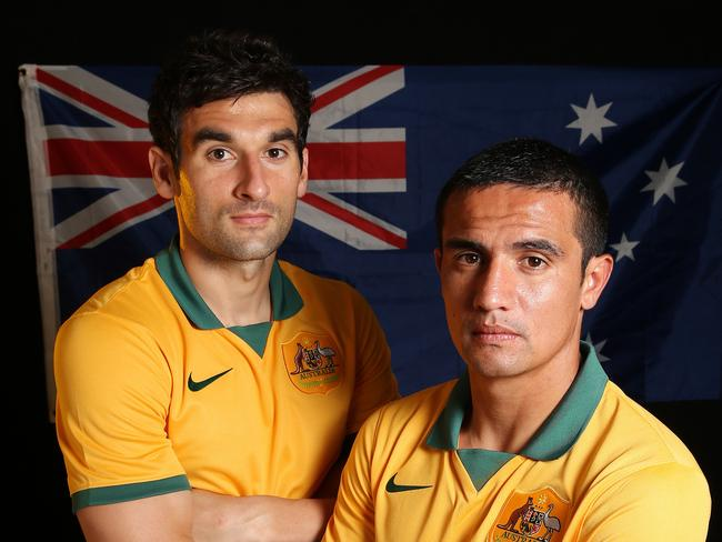 World No.79 ... Socceroos captain Mile Jedinak with vice captain Tim Cahill.