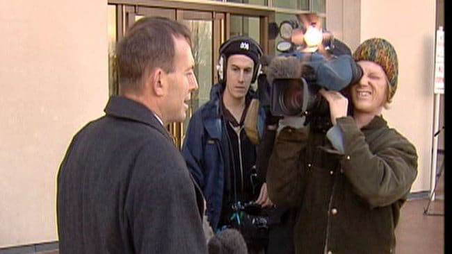 Tony Abbott during an undated interview in Canberra from 2007, where at the time, Daniel O'Connor (background) is pictured.